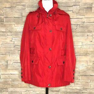 Simon Chang red rain jacket